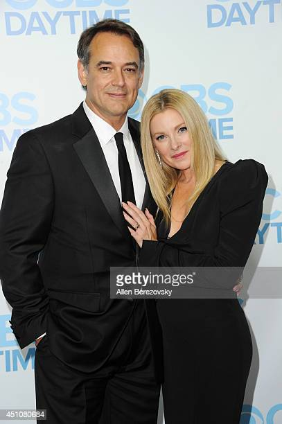 Actors Jon Lindstrom and wife Cady McClain attend the 41st Annual Daytime Emmy Awards CBS After Party at The Beverly Hilton Hotel on June 22 2014 in...