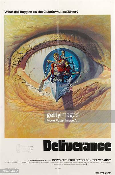 Actors Jon Voight and Burt Reynolds appear on a poster for the movie 'Deliverance' 1972