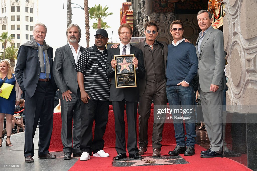 Actors Jon Voight, Martin Lawerence, producer Jerry Bruckheimer, actors Johnny Depp, Tom Cruise and The Walt Disney Company Chairman and CEO Bob Iger attend Legendary Producer Jerry Bruckheimer Hollywood Walk of Fame Star Ceremony on the Hollywood Walk of Fame on June 24, 2012 in Hollywood, California.