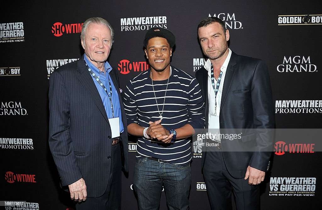 Actors <a gi-track='captionPersonalityLinkClicked' href=/galleries/search?phrase=Jon+Voight&family=editorial&specificpeople=202872 ng-click='$event.stopPropagation()'>Jon Voight</a>, <a gi-track='captionPersonalityLinkClicked' href=/galleries/search?phrase=Pooch+Hall&family=editorial&specificpeople=879951 ng-click='$event.stopPropagation()'>Pooch Hall</a> and <a gi-track='captionPersonalityLinkClicked' href=/galleries/search?phrase=Liev+Schreiber&family=editorial&specificpeople=203259 ng-click='$event.stopPropagation()'>Liev Schreiber</a> arrive at a VIP pre-fight party at the WBC welterweight title fight between Floyd Mayweather Jr. and Robert Guerrero at the MGM Grand Hotel/Casino on May 4, 2013 in Las Vegas, Nevada.