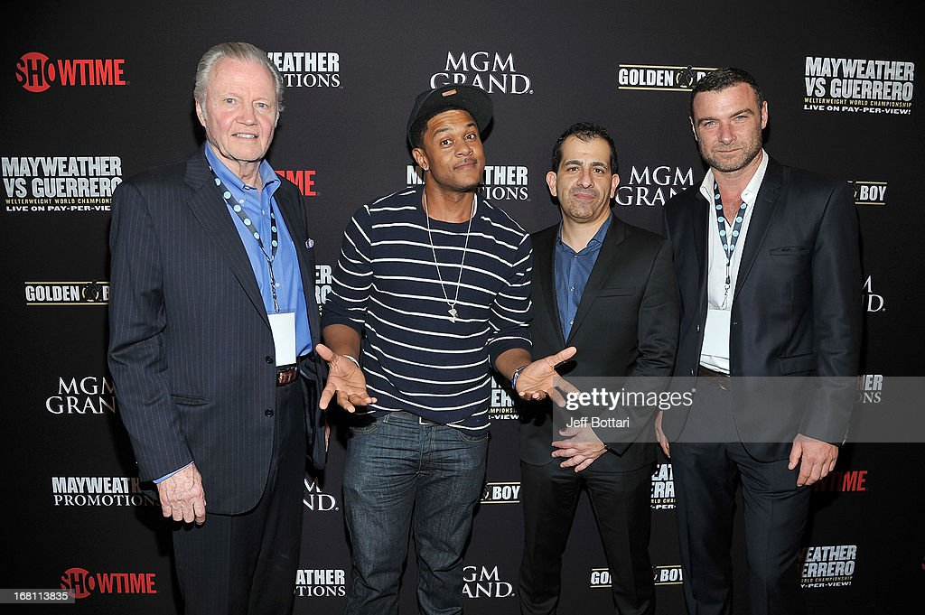 Actors <a gi-track='captionPersonalityLinkClicked' href=/galleries/search?phrase=Jon+Voight&family=editorial&specificpeople=202872 ng-click='$event.stopPropagation()'>Jon Voight</a>, <a gi-track='captionPersonalityLinkClicked' href=/galleries/search?phrase=Pooch+Hall&family=editorial&specificpeople=879951 ng-click='$event.stopPropagation()'>Pooch Hall</a>, Executive Vice President, GM Sports and Event Programming of Showtime Stephen Espinoza and actor <a gi-track='captionPersonalityLinkClicked' href=/galleries/search?phrase=Liev+Schreiber&family=editorial&specificpeople=203259 ng-click='$event.stopPropagation()'>Liev Schreiber</a> arrive at a VIP pre-fight party at the WBC welterweight title fight between Floyd Mayweather Jr. and Robert Guerrero at the MGM Grand Hotel/Casino on May 4, 2013 in Las Vegas, Nevada.