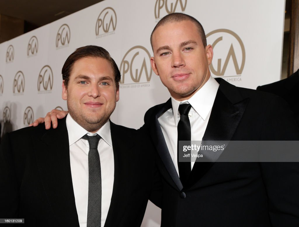 Actors <a gi-track='captionPersonalityLinkClicked' href=/galleries/search?phrase=Jonah+Hill&family=editorial&specificpeople=544481 ng-click='$event.stopPropagation()'>Jonah Hill</a> and <a gi-track='captionPersonalityLinkClicked' href=/galleries/search?phrase=Channing+Tatum&family=editorial&specificpeople=549548 ng-click='$event.stopPropagation()'>Channing Tatum</a> arrive at the 24th Annual Producers Guild Awards held at The Beverly Hilton Hotel on January 26, 2013 in Beverly Hills, California.