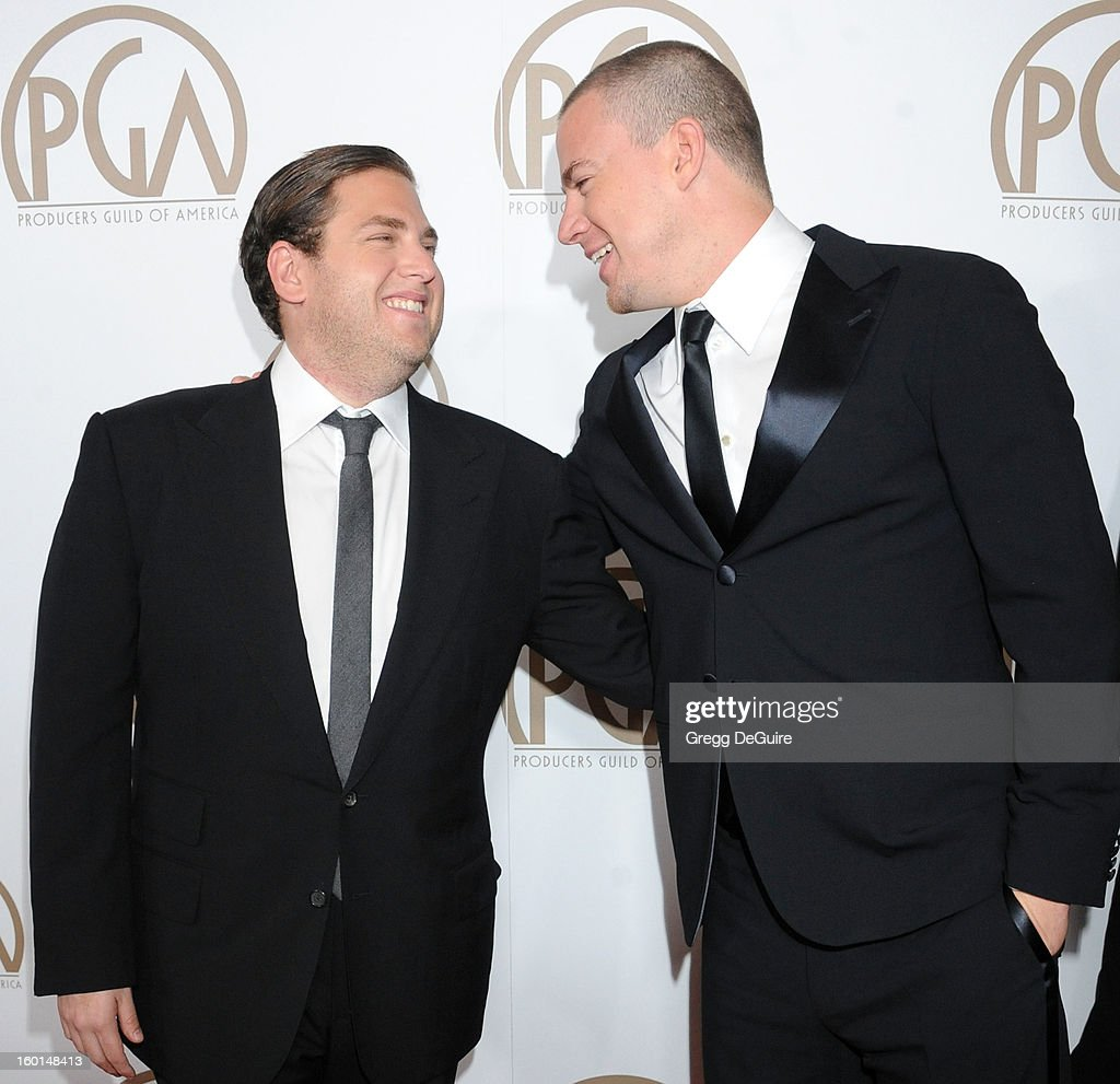 Actors Jonah Hill and Channing Tatum arrive at the 24th Annual Producers Guild Awards at The Beverly Hilton Hotel on January 26, 2013 in Beverly Hills, California.