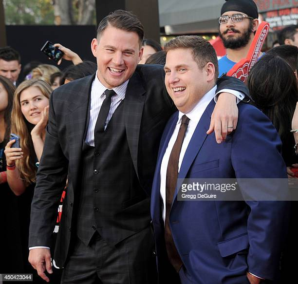 Actors Jonah Hill and Channing Tatum arrive at the Los Angeles premiere of '22 Jump Street' at Regency Village Theatre on June 10 2014 in Westwood...
