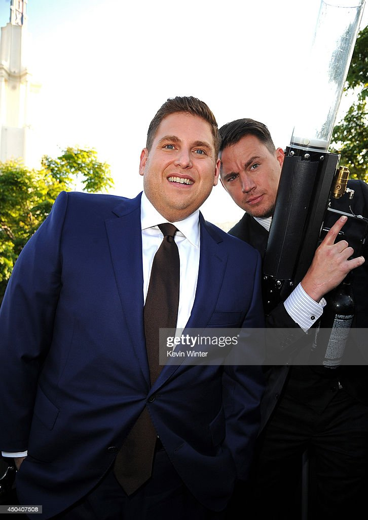 Actors <a gi-track='captionPersonalityLinkClicked' href=/galleries/search?phrase=Jonah+Hill&family=editorial&specificpeople=544481 ng-click='$event.stopPropagation()'>Jonah Hill</a> (L) and <a gi-track='captionPersonalityLinkClicked' href=/galleries/search?phrase=Channing+Tatum&family=editorial&specificpeople=549548 ng-click='$event.stopPropagation()'>Channing Tatum</a> attend the Premiere Of Columbia Pictures' '22 Jump Street' at Regency Village Theatre on June 10, 2014 in Westwood, California.
