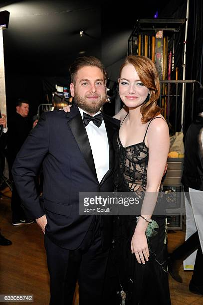 Actors Jonah Hill and Emma Stone attend The 23rd Annual Screen Actors Guild Awards at The Shrine Auditorium on January 29 2017 in Los Angeles...