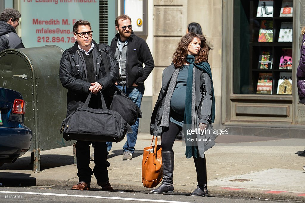 Actors Jonah Hill (L) and Felicity Jones film a scene at the 'True Story' movie set at Rizzoli Bookstore on March 20, 2013 in New York City.