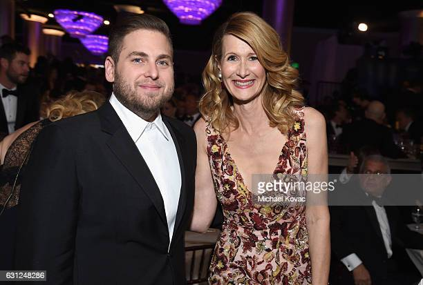 Actors Jonah Hill and Laura Dern attend the 74th Annual Golden Globe Awards at The Beverly Hilton Hotel on January 8 2017 in Beverly Hills California