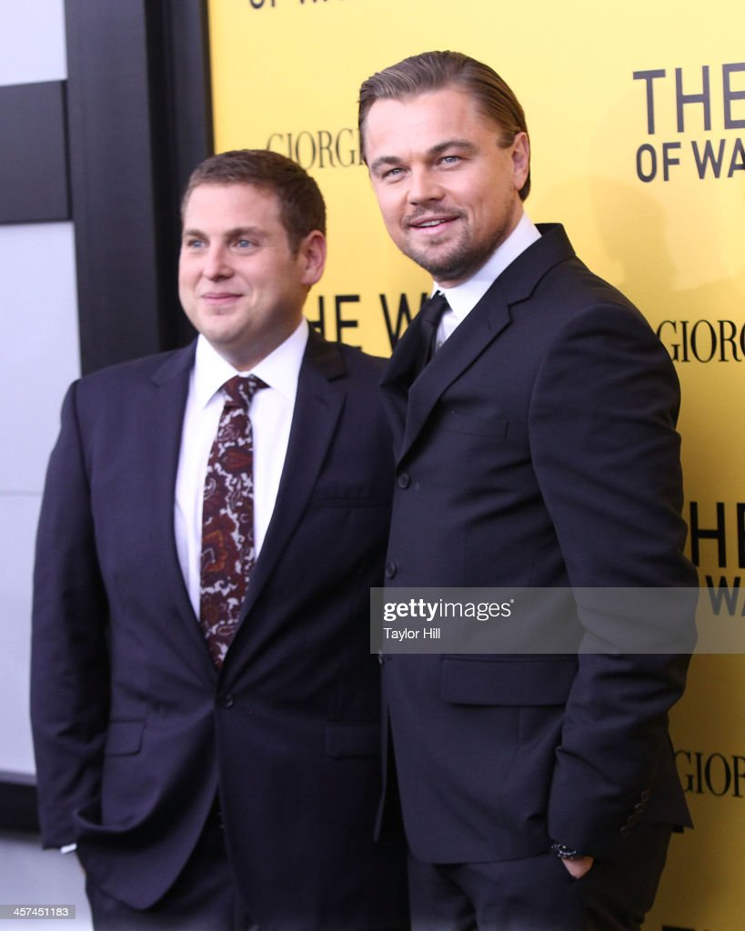 Actors Jonah Hill and Leonardo DiCaprio attend the 'The Wolf Of Wall Street' premiere at Ziegfeld Theater on December 17, 2013 in New York City.