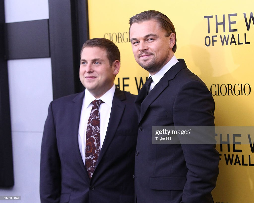 Actors <a gi-track='captionPersonalityLinkClicked' href=/galleries/search?phrase=Jonah+Hill&family=editorial&specificpeople=544481 ng-click='$event.stopPropagation()'>Jonah Hill</a> and <a gi-track='captionPersonalityLinkClicked' href=/galleries/search?phrase=Leonardo+DiCaprio&family=editorial&specificpeople=201635 ng-click='$event.stopPropagation()'>Leonardo DiCaprio</a> attend the 'The Wolf Of Wall Street' premiere at Ziegfeld Theater on December 17, 2013 in New York City.