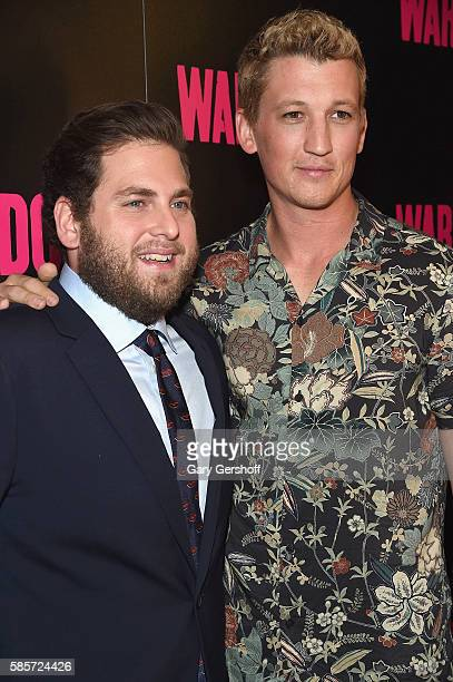 Actors Jonah Hill and Miles Teller attend the 'War Dogs' New York premiere at The Metrograph Theatre on August 3 2016 in New York City