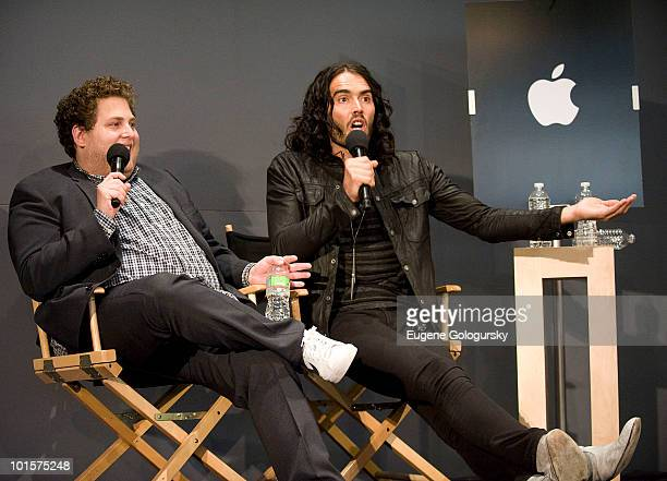 Actors Jonah Hill and Russell Brand attends Meet The Actors 'Get Him To The Greek' at the Apple Store Soho on June 2 2010 in New York City