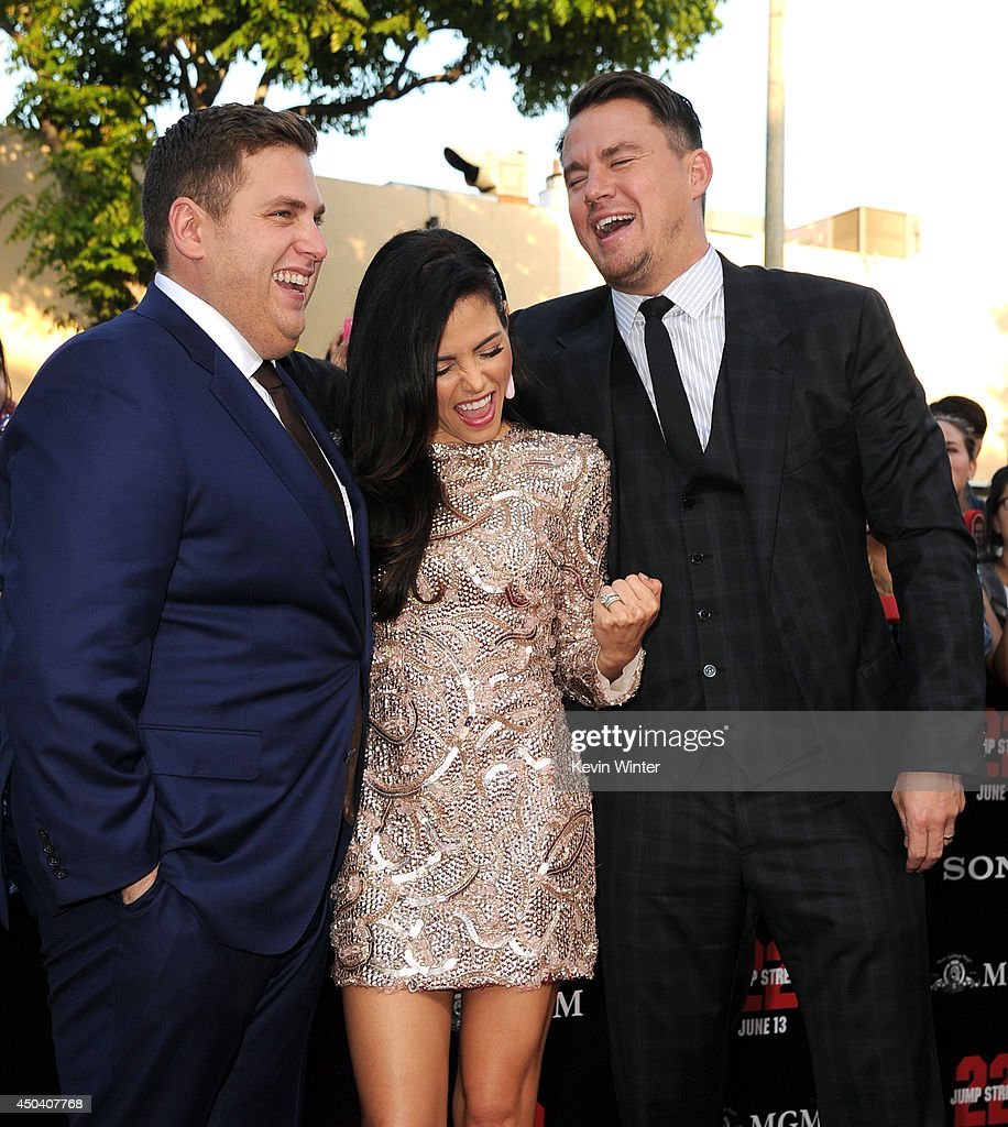 Actors <a gi-track='captionPersonalityLinkClicked' href=/galleries/search?phrase=Jonah+Hill&family=editorial&specificpeople=544481 ng-click='$event.stopPropagation()'>Jonah Hill</a>, <a gi-track='captionPersonalityLinkClicked' href=/galleries/search?phrase=Jenna+Dewan-Tatum&family=editorial&specificpeople=7220442 ng-click='$event.stopPropagation()'>Jenna Dewan-Tatum</a> and <a gi-track='captionPersonalityLinkClicked' href=/galleries/search?phrase=Channing+Tatum&family=editorial&specificpeople=549548 ng-click='$event.stopPropagation()'>Channing Tatum</a> attend the Premiere Of Columbia Pictures' '22 Jump Street' at Regency Village Theatre on June 10, 2014 in Westwood, California.