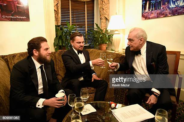 Actors Jonah Hill Leonardo DiCaprio and Martin Scorsese attend as the Friars Club Honors Martin Scorsese With Entertainment Icon Award at Cipriani...