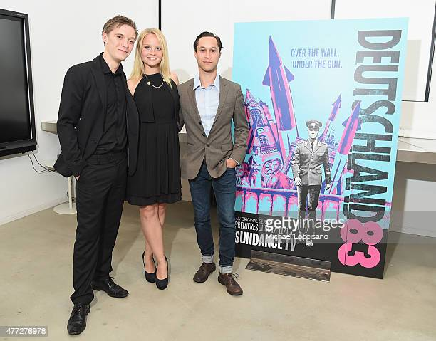 Actors Jonas Nay Sonja Gerhardt and Ludwig Trepte attend the NY premiere of SundanceTV's 'Deutschland 83' on June 15 2015 in New York City
