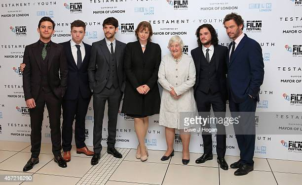 Actors Jonathan Bailey Taron Egerton Colin Morgan Emily Watson former MP Shirley Williams and actors Kit Harington and Dominic West attend the VIP...