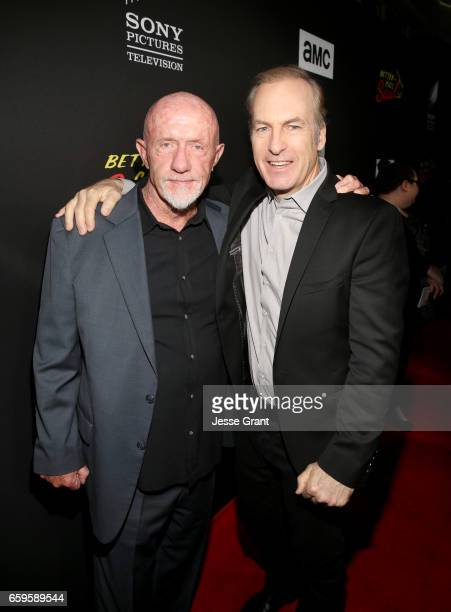 Actors Jonathan Banks and Bob Odenkirk attend AMC's 'Better Call Saul' season 3 premiere at ArcLight Cinemas on March 28 2017 in Culver City...