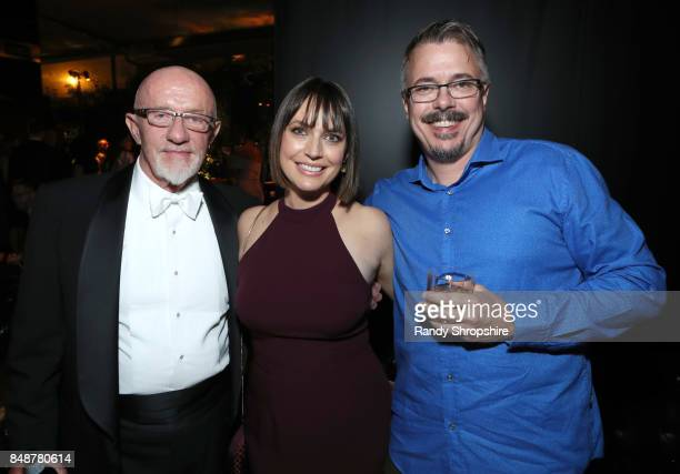 Actors Jonathan Banks Julie Ann Emery and writer Vince Gilligan at AMC BBCA and IFC Emmy party at BOA Steakhouse on September 17 2017 in West...