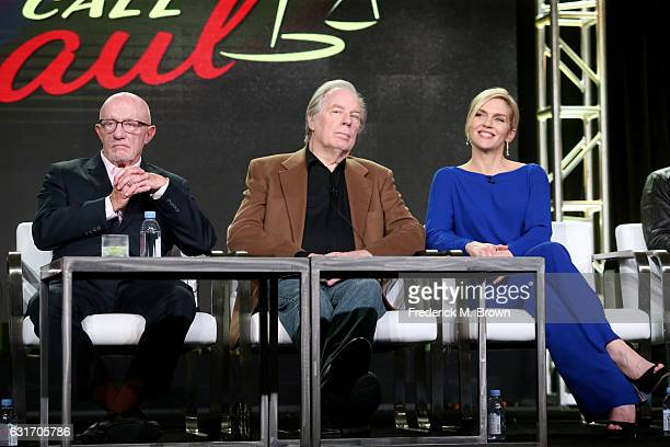 Actors Jonathan Banks Michael McKean and Rhea Seehorn of the series 'Better Call Saul' speak onstage during the AMC portion of the 2017 Winter...