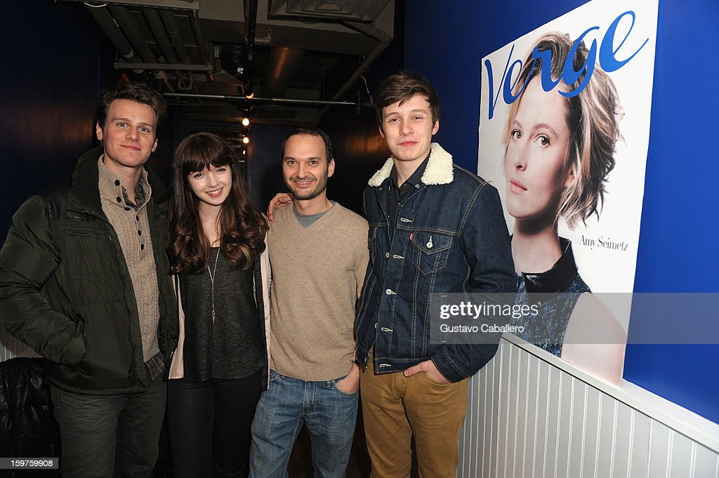 Actors Jonathan Groff, Gina Piersanti, Verge founder and creative director Jeff Vespa and actor Nick Robinson attends the Samsung Gallery Launch Party To Celebrate The Verge List - 2013 on January 19, 2013 in Park City, Utah.