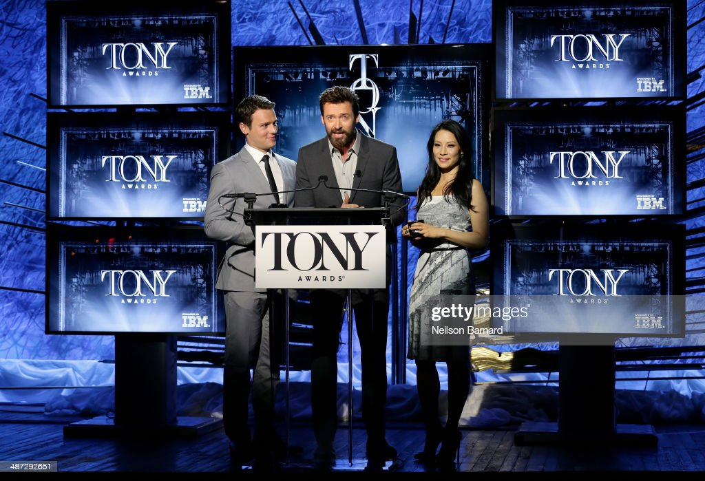 Actors Jonathan Groff Hugh Jackman and Lucy Liu speak onstage at the 2014 Tony Awards Nominations Ceremony at the Diamond Horseshoe at the Paramount...
