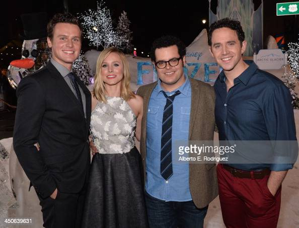 Actors Jonathan Groff Kristen Bell Josh Gad and Santino Fontana attend The World Premiere of Walt Disney Animation Studios' 'Frozen' at El Capitan...