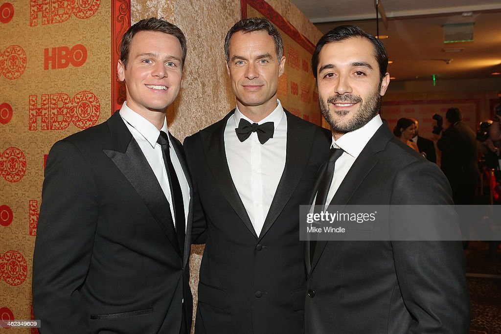 Actors Jonathan Groff Murray Bartlett and Frankie J Alvarez attend HBO's Post 2014 Golden Globe Awards Party at Circa 55 Restaurant on January 12...