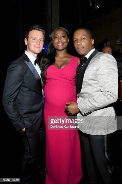Actors Jonathan Groff Patina Miller and Leslie Odom Jr back stage at the 2017 Tony Awards at Radio City Music Hall on June 11 2017 in New York City