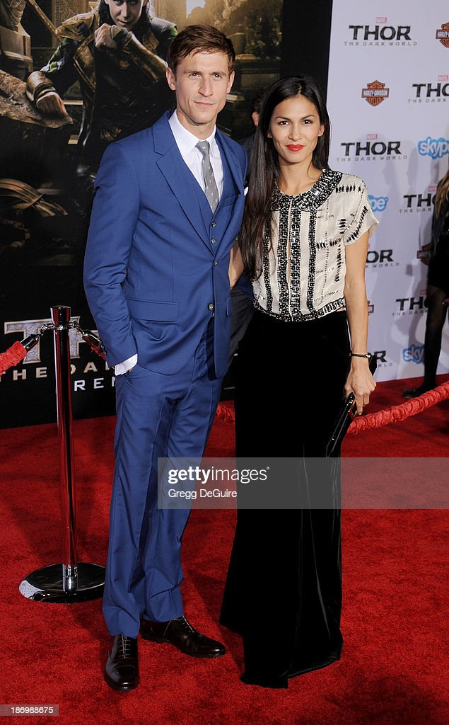 Actors Jonathan Howard and <a gi-track='captionPersonalityLinkClicked' href=/galleries/search?phrase=Elodie+Yung&family=editorial&specificpeople=7901076 ng-click='$event.stopPropagation()'>Elodie Yung</a> arrive at the Los Angeles premiere of 'Thor: The Dark World' at the El Capitan Theatre on November 4, 2013 in Hollywood, California.