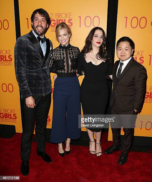 Actors Jonathan Kite Beth Behrs Kat Dennings and Matthew Moy attend the 100th episode celebration of CBS' '2 Broke Girls' at Mrs Fish on October 3...