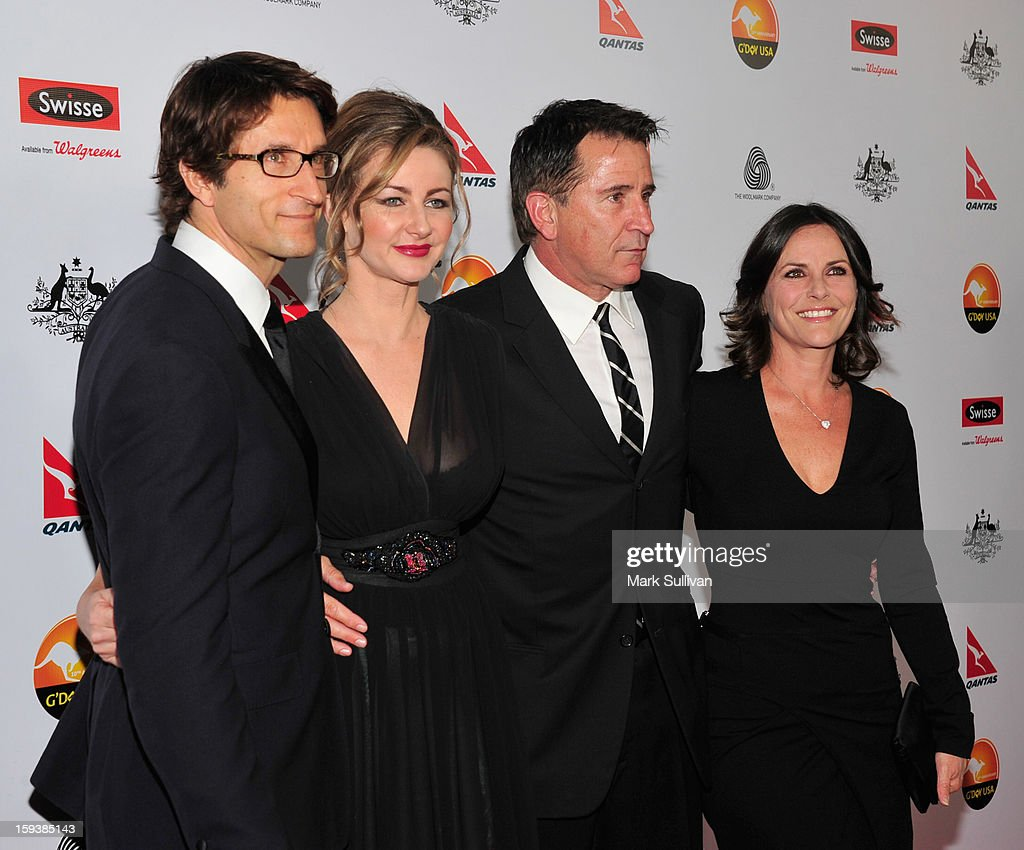 Actors Jonathan LaPaglia, Ursula Brooks, Anthony LaPaglia and Gia Carides arrive for the G'Day USA Black Tie Gala held at at the JW Marriot at LA Live on January 12, 2013 in Los Angeles, California.