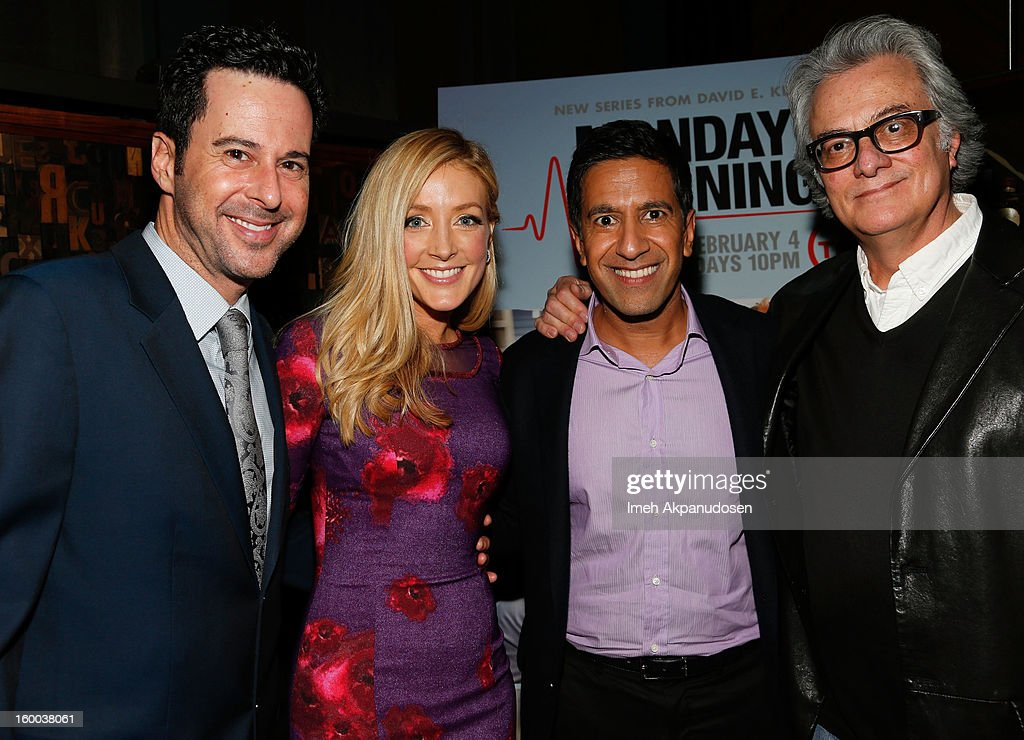 Actors <a gi-track='captionPersonalityLinkClicked' href=/galleries/search?phrase=Jonathan+Silverman&family=editorial&specificpeople=228073 ng-click='$event.stopPropagation()'>Jonathan Silverman</a> and <a gi-track='captionPersonalityLinkClicked' href=/galleries/search?phrase=Jennifer+Finnigan&family=editorial&specificpeople=213001 ng-click='$event.stopPropagation()'>Jennifer Finnigan</a>, <a gi-track='captionPersonalityLinkClicked' href=/galleries/search?phrase=Dr.+Sanjay+Gupta&family=editorial&specificpeople=3093323 ng-click='$event.stopPropagation()'>Dr. Sanjay Gupta</a>, and producer Bill D'Elia attend the screening of TNT's 'Monday Mornings' at BOA Steakhouse on January 24, 2013 in West Hollywood, California.
