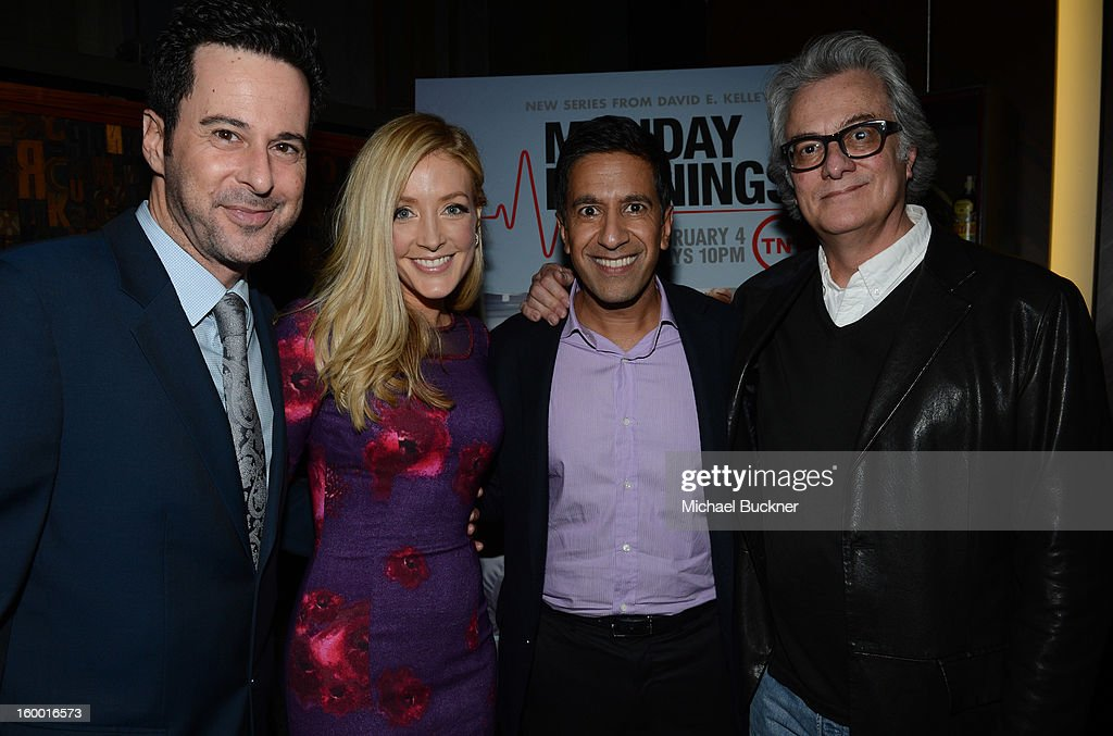 Actors Jonathan Silverman and Jennifer Finnigan, writer/executive producer Dr. Sanjay Gupta and director/executive producer Bill D'Elia attend 'Monday Mornings' Premiere Reception at at BOA Steakhouse on January 24, 2013 in West Hollywood, California. (Photo by Michael Buckner/WireImage) 23200_001_MB_0152.jpg