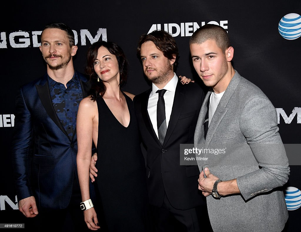 Actors Jonathan Tucker Joanna Going creator/EP Byron Balasco and singer/actor Nick Jonas attend the premiere of DIRECTV's 'Kingdom' Season 2 at...