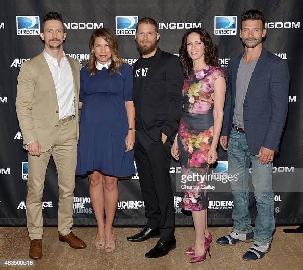 Actors Jonathan Tucker Kiele Sanchez Matt Lauria Joanna Going and Frank Grillo attend the DIRECTV's presentation of KINGDOM at the 2015 Summer TCA...