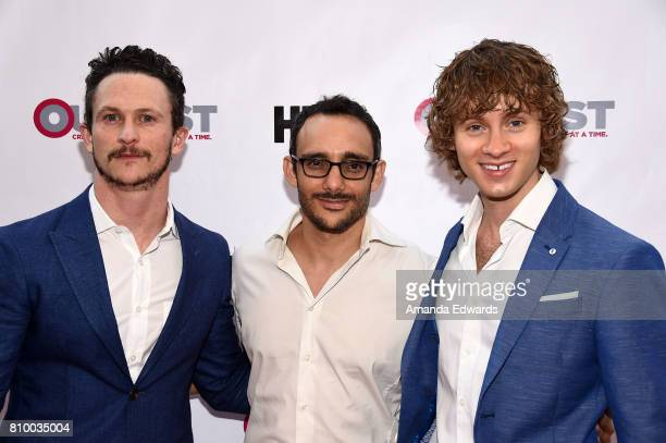 Actors Jonathan Tucker Omid Abtahi and Bruce Langley arrive at the 2017 Outfest Los Angeles LGBT Film Festival Opening Night Gala of 'God's Own...