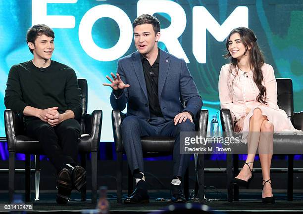 Actors Jonathan Whitesell Burkely Duffield and Dilan Gwyn of the television show 'Beyond' speak onstage during the DisneyABC portion of the 2017...