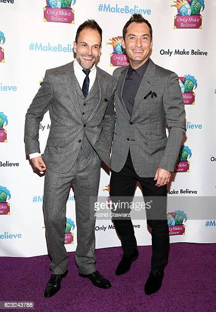 Actors Jonny Lee Miller and Jude Law attend 2016 Only Make Believe Gala at St James Theater on November 14 2016 in New York City