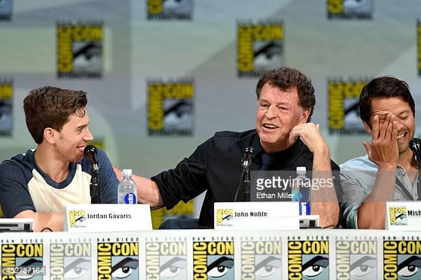 Actors Jordan Gavaris John Noble and Misha Collins attend the TV Guide Magazine Fan Favorites panel during ComicCon International 2014 at the San...