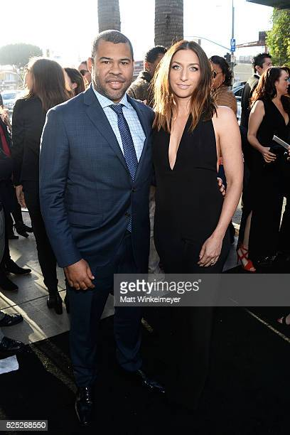 Actors Jordan Peele and Chelsea Peretti attend a special presentation of Warner Bros' 'Keanu' at ArcLight Cinemas Cinerama Dome on April 27 2016 in...