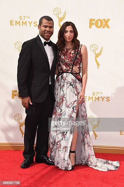 Actors Jordan Peele and Chelsea Peretti attend the 67th Annual Primetime Emmy Awards at Microsoft Theater on September 20 2015 in Los Angeles...