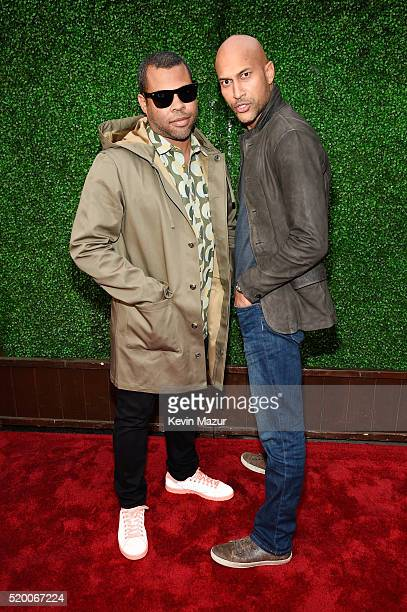 Actors Jordan Peele and KeeganMichael Key attend the 2016 MTV Movie Awards at Warner Bros Studios on April 9 2016 in Burbank California MTV Movie...