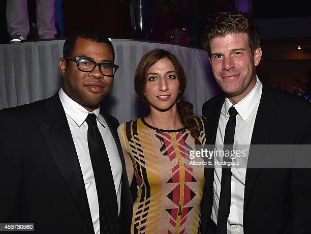 Actors Jordan Peele Chelsea Peretti and Stephen Rannazzisi attend Comedy Central's Creative Arts Emmy after party at Boulevard3 on August 16 2014 in...