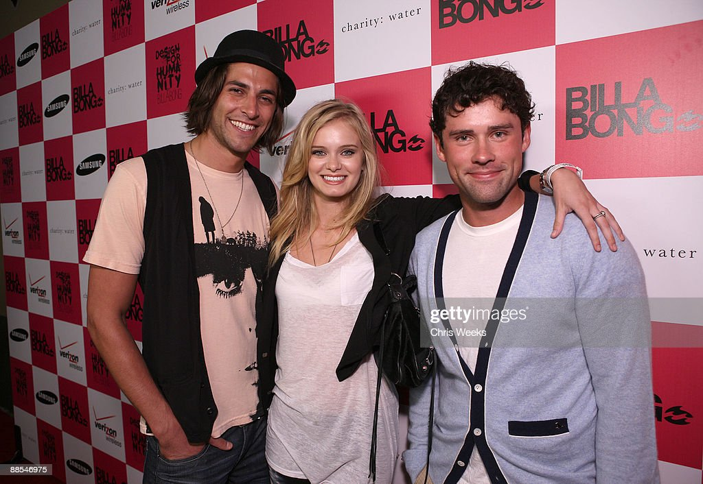 Actors Jordan Woolley Sara Paxton and Ben Hollingsworth arrive at Billabong USA's 3rd annual Design for Humanity at Avalon on June 17 2009 in...
