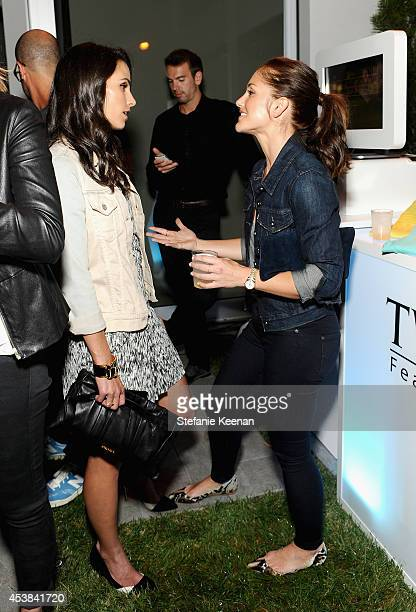 Actors Jordana Brewster and Minka Kelly attend a dance party with New Balance and James Jeans powered by ISKO at the home of Pascal Mouawad on August...