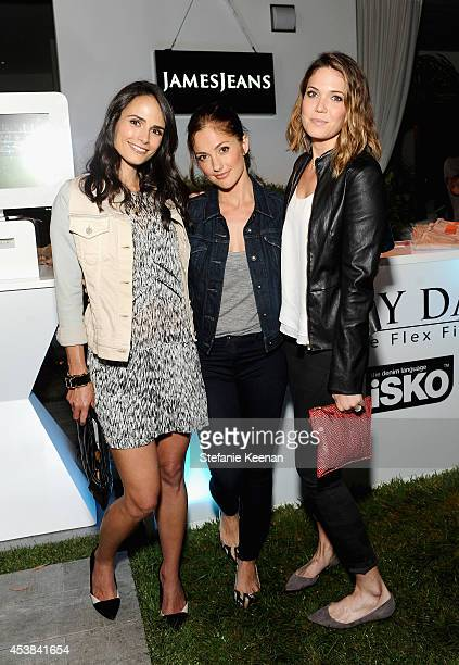 Actors Jordana Brewster Minka Kelly and Mandy Moore attend a dance party with New Balance and James Jeans powered by ISKO at the home of Pascal...