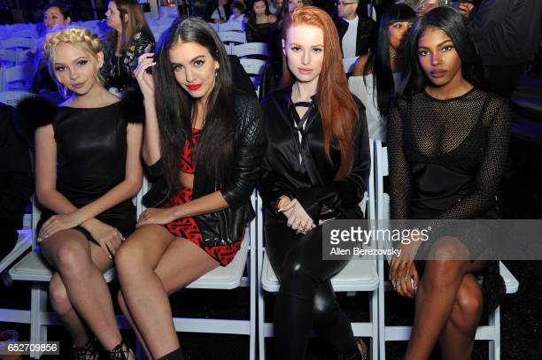 Actors Jordyn Jones Lilimar Madelaine Petsch and singer Diamond White attend the debut of Thomas Wylde's 'Warrior II' collection at Pacific Design...