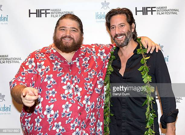 Actors Jorge Garcia and Henry Ian Cusick arrive at the 2015 Hawaii International Film Festival for the world premiere of 'Pali Road' on November 16...