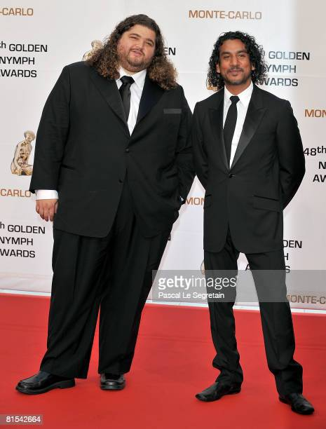 Actors Jorge Garcia and Naveen Andrews attends the Golden Nymph awards ceremony during the 2008 Monte Carlo Television Festival held at Grimaldi...
