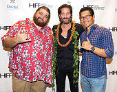 Actors Jorge Garcia Henry Ian Cusick and Daniel Dae Kim arrives at the 2015 Hawaii International Film Festival for the world premiere of 'Pali Road'...